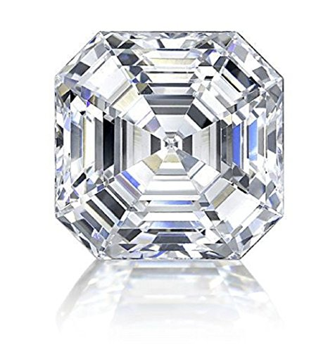 RINGJEWEL 1.56 CT VVS1 Asscher Cut Loose Real Moissanite Use 4 Pendant/Ring Genuine White H-I Color