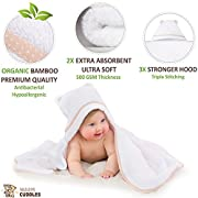 Organic Bamboo Hooded Baby Towel | Premium Baby Shower Towel | Baby Bath Towel with Hood | Large Hooded Towel for Newborn Infant Toddler Boy Girl