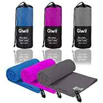 Microfiber Beach Towel, Giwil Travel Sports Towel Ultra Absorbent and Quick Dry Towel (XL 70 X 35) Compact/Lightweight Swimming Towel for Backpacking, Camping, Gym, Bath