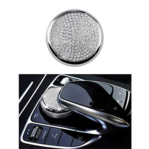 - Thor-Ind Multimedia Buttons Adjustment Control Knob Cover Sticker Decoration for Mercedes Benz C E Class GLC W205 W213 X253 E300 C180 C200 Car Central Console Diamond Decoration (Multimedia Knob)