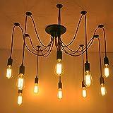 Home Deco Vintage Industrial DIY Lamp Fixture Retro Pendant Light Ceiling Lamp Chandeliers 6/8/10 Lighting Spider Lighting (E27 Bulb Base, Adjustable) (10 Head)