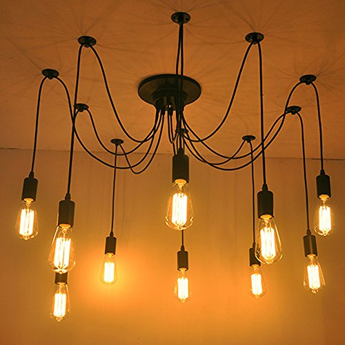 Home Deco Vintage Industrial DIY Lamp Fixture Retro Pendant Light Ceiling Lamp Chandeliers 6/8/10 Lighting Spider Lighting (E27 Bulb Base, Adjustable) (10 Head)