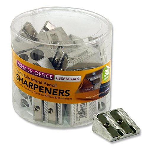 Premier Stationery Metal Twin Hole Pencil Sharpener (Pack of 30) by Premier Stationery