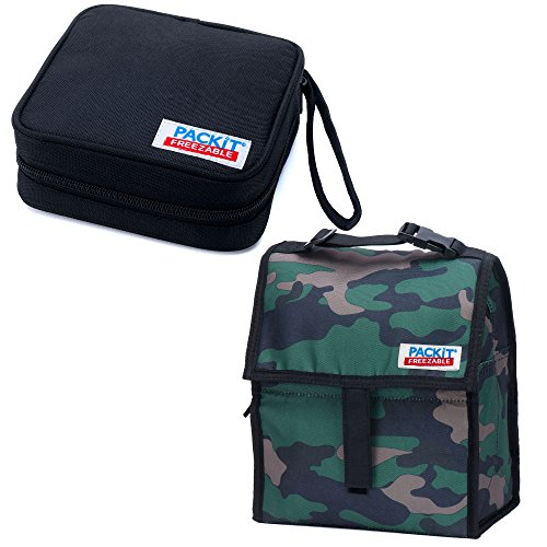 Insulated Lunch Bag and Sandwich Bundle Including 2 Freezable Pieces By Packit - Lunch Bag and Sandwich Cooler - Keeps Your Lunch Chilled up to 6 Hours (Camo & Black)