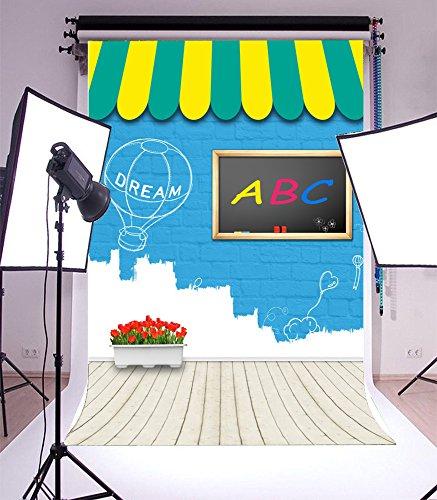 Laeacco 5x7ft Vinyl Photography Background Cartoon Blue Brick Wall Dream Hot-air Bollon ABC Small Blackboard Flowers Stripes Wooden Floor Backdrops Children Girls Video Studio Props 1.5x2.2m