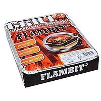 Flambit Einweggrill Silber klein One-Way Camping Picknick ✔ eckig ✔ tragbar ✔ Grillen mit Holzkohle