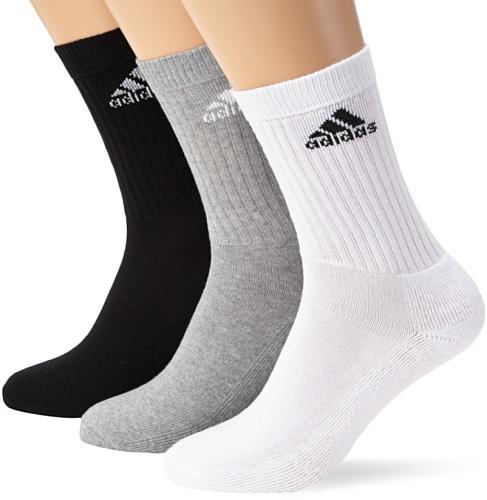 reputable site best sell pretty cool Adidas Adi Crew Half-Cushion Socks (3 Pair) - White/White/Black, Size 51
