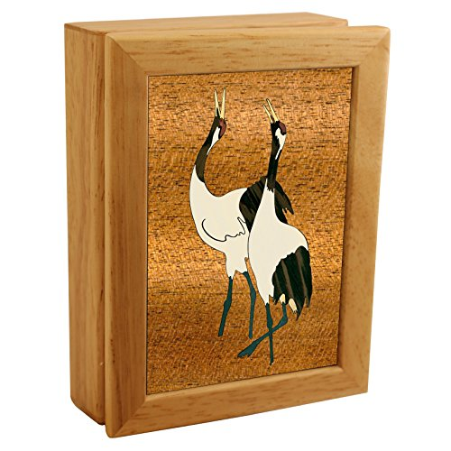 Wood Art Crane Box - Handmade USA - Unmatched Quality - Unique, No Two are the Same - Original Work of Wood Art. A Crane Gift, Ring, Trinket or Wood Jewelry Box (#4500 Cranes Call 4x5x1.5) (Two Cranes)