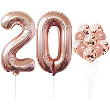 Rose Gold 20 Number Balloons