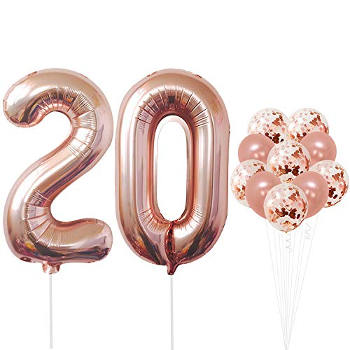 Rose Gold 20 Number Balloons - Large, 2 and 0 Mylar Rose Gold Balloons, 40 Inch | Extra Pack of 10 Latex Baloons, 12 Inch | Great 20th Birthday Party -