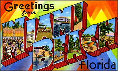 - American Vinyl Vintage Greetings from Miami Beach Sticker (Old Postcard Art Logo Florida fl)