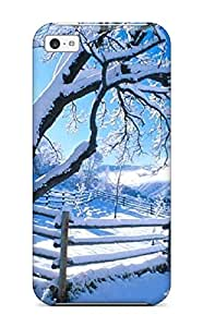 Best 3354976K16552805 Tpu Case Cover For Iphone 5c Strong Protect Case - Colorful Snow Tree Design