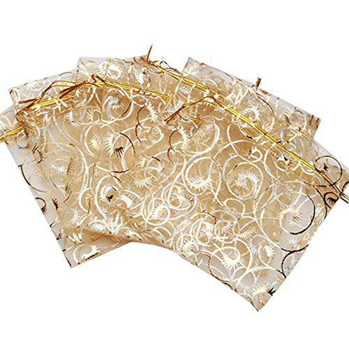 Organza Wedding Favour Bags 10x12cm /3.9''x4.7'' set of 95 to 100 Beautiful Gold Champagne Eyelash Organza Drawstring Pouches Jewelry Party Wedding Favor candy Gift Bags Pouch Bags (gold 3.9''x4.7'') (Wedding Party Favor Tulle)