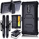 zte imperial 2 cases - ZTE Grand X Max 2 Case,ZTE Imperial MAX Case,Kmall Heavy Duty Dual Layer Full-Body Holster Shockproof Protective Cover Shell Bumper Durable Belt Swivel Clip Kickstand For ZTE Kirk / Max Dual Pro Black