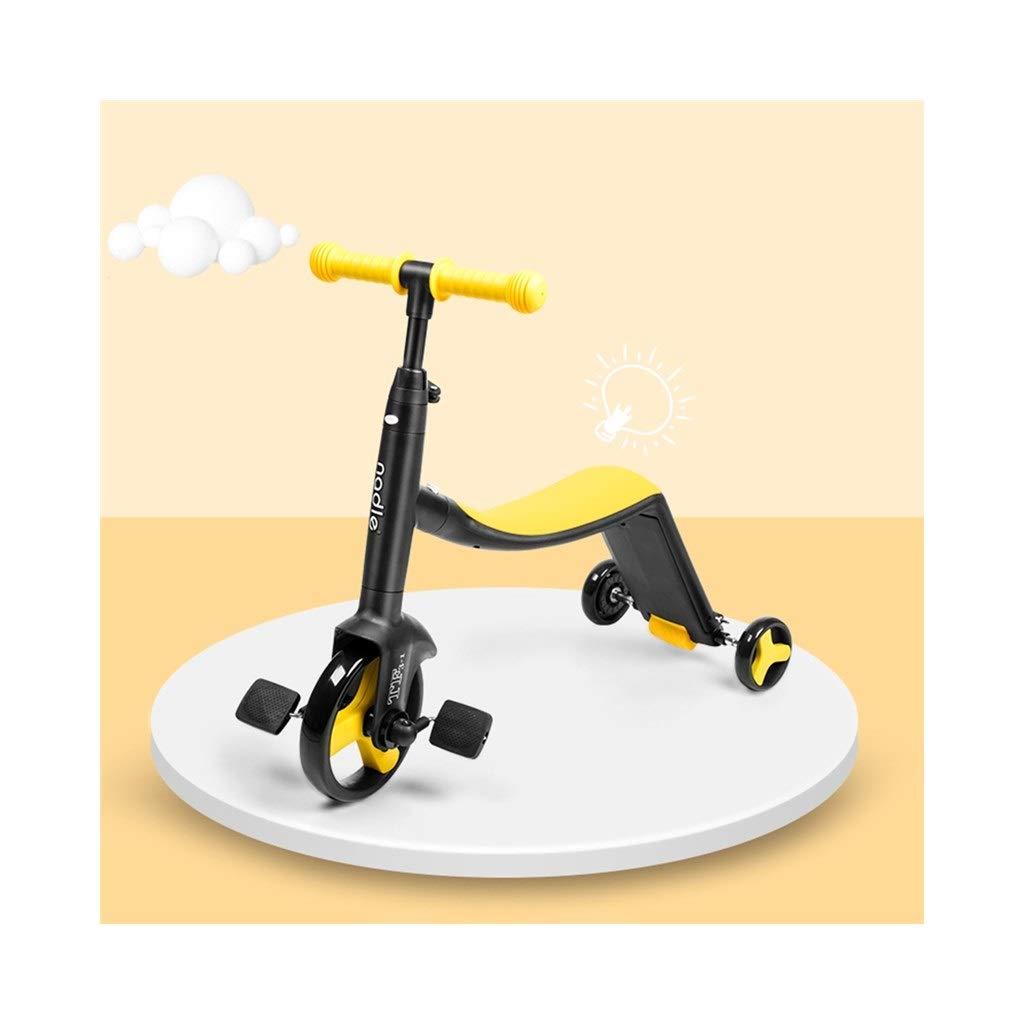 QIQI-SHYP 3-in-1-Tretroller Mit 3 Rädern Für Jungen, Mädchen, Kinder, Kinder-Multifunktionsroller, Höhenverstellbar Für Kinder Im Alter Von 1-3-6 Jahren (Farbe   Rot) Gelb