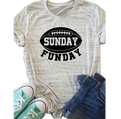 KimSoong Women Sunday Funday Football Shirt Casual Short Sleeve Tee T-Shirt Tank Top (Large)