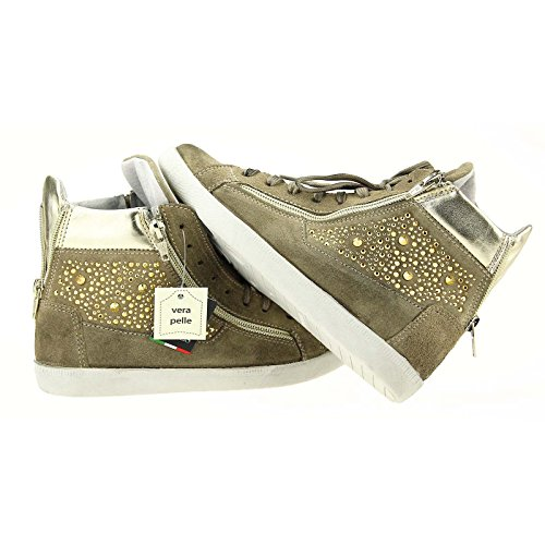 Ovye by Cristina Lucchi Trainer Shoes Suede Leather Rhinestone low Hand-Made in Italy - Beige-Platin sale cost cheap sale buy cheap store GVjgz