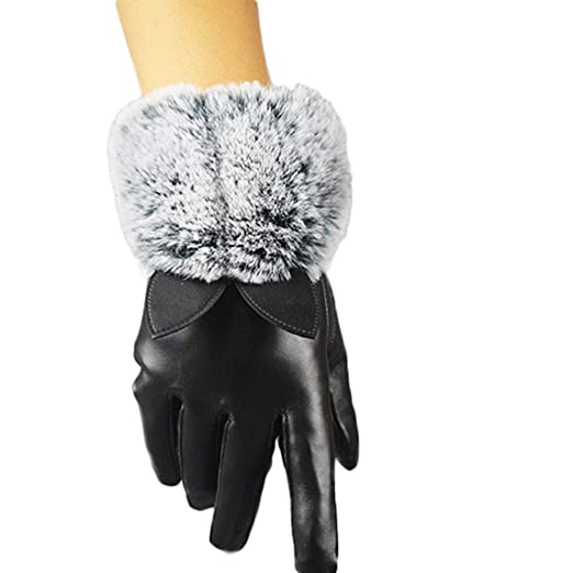 d45951179ce14 Girls Mittens And Gloves,Women Lady Black Leather Gloves Autumn Winter Cat  Ears Warm Rabbit
