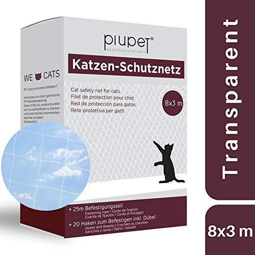 PiuPet® Red de Balcón para Gatos (Transparente)