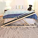 MDBT Dog Bed Ramps for Small Dogs, Wood Pet Ramp for High Beds, 59 in. Long Adjustable 37 in. Tall Supports Cats and Dogs Up to 30 lbs