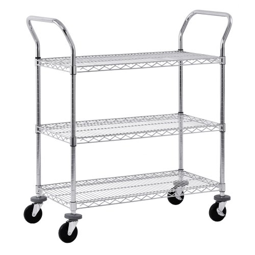 Enclosed Utility Cart - Sandusky MWS482438 Adjustable Wire Shelf Cart with Pull Handle, 800 lbs Maximum Capacity, 48