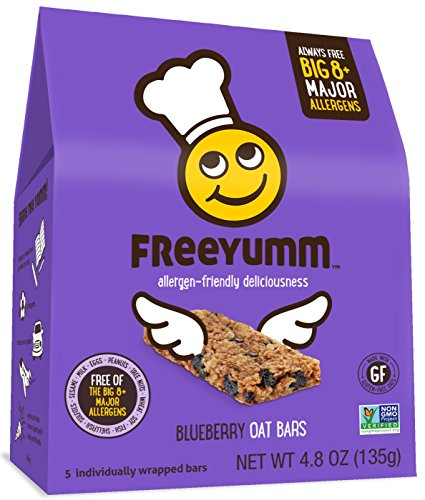 Nut Free Gluten Free Granola Bars, FreeYumm Blueberry Oat Bars, School Safe Allergen Free Snacks for Kids, Pack of 3 (5 count each pack) by FreeYumm