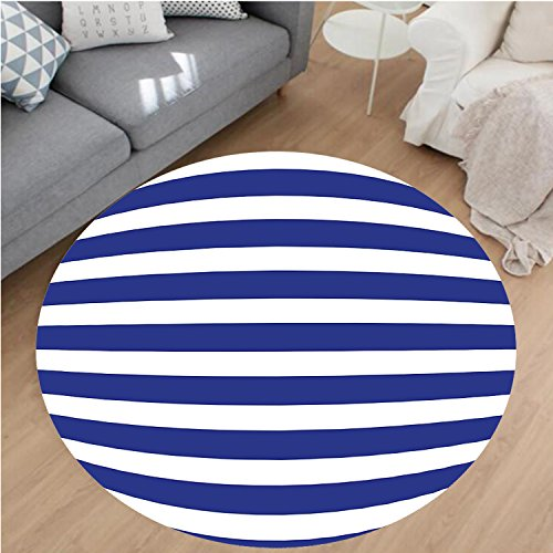 (Nalahome Modern Flannel Microfiber Non-Slip Machine Washable Round Area Rug-ne Style Navy Blue and White Stripes Sailor Theme Geometric Pattern Violet Blue and White Area Rugs Home Decor-Round 51