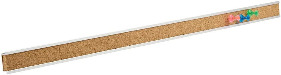 "Quartet Bulletin Bar Strip, Cork Board, 24"" x 1"", Classroom, Office, Cubicle, Aluminum Frame (2004), QRT2004, Natural"