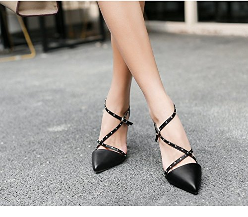 5Cm Low With Single Heeled Women Buckle A A Shoes Sandals Fine Shoes Shoes 8 Hollow five Thirty With KHSKX Black 4Z5wB