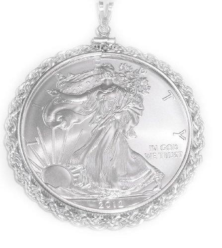 Flintski Jewelry Sterling Silver Rope Coin Bezel Walking Liberty Silver Dollar Pendant