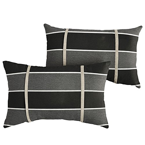 Mozaic Company AMPS113828 Indoor Outdoor Sunbrella Lumbar Pillows, Set of 2, 12 x 18, Grey/Black Stripes & Silver Grey (Clearance Pillows Sunbrella)