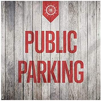 8x8 Nautical Wood Wind-Resistant Outdoor Mesh Vinyl Banner Public Parking CGSignLab