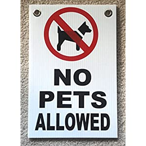 "1Pc Monumental Unique No Pets Allowed Signs Yard Board Coroplast Warning Decal Area Property Notice Waste On Lawn Animals Park Pooping Please Keep of Grass Signage Dog Poop Size 8"" x 12"" w/ Grommets"