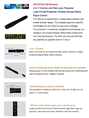 Infiniter 4-In-1 Function Wireless Presenter with Red Laser Pointer/Wireless Mouse and Media Player Control (LR8)