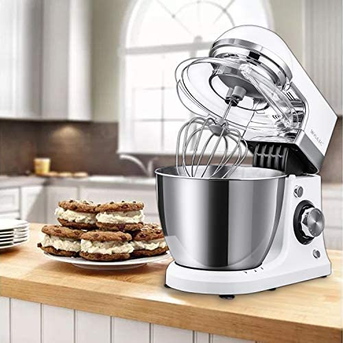 Stand Mixer, MOSAIC Kitchen Electric Stand Mixer with 5 Qt Stainless Steel Bowl, Dough Hooks, Wire Whip, Beater, 8 Speeds/Pulse Control Food Mixer with Splatter Guard and Feeding Port