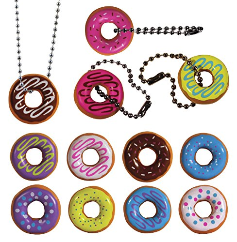 I Love Donuts Keychain. Assorted Colors. 24 PC Set. Fun Party (Donut Party Favors)