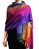 NYFASHION101 Elegant Colorful Paisley Soft Pashmina Scarf Shawl Wrap NBH1401Y - Dark Rainbow 17
