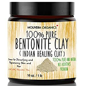 Molivera Organics Bentonite Clay for Detoxifying and Rejuvenating Skin and Hair, 16 oz.