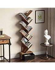 Rolanstar Tree Bookshelf Bookcase with Drawer, Floor Standing Tree Bookcase, Bookshelves Storage Rack for CDs/Movies/Books, Utility Organizer Shelves for Living Room, Bedroom, Home Office