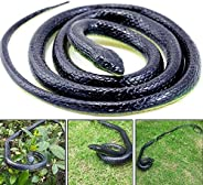 AHZI 50 Inch Long Realistic Garden Rubber Snake Fake Snakes Fool's Day Halloween Novelty