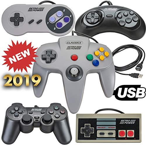 New 2019: 5 USB Classic Controllers - NES, SNES, Sega Genesis, N64, Playstation 2 (PS2) for RetroPie, PC, HyperSpin, MAME, Emulator, Raspberry Pi Gamepad