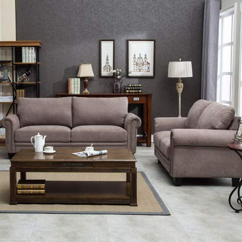 Hooseng Fabric Living Room Sofa Set Collection with Curled Handrails and Nail Head Trim (Loveseat&Sofa), Taupe by Hooseng