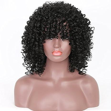 NEWFB Afro Kinky - Peluca sintética para mujer, color natural