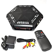 iKKEGOL 4 Ways Video Audio Game Av Switch Box Selector with Remote Control Av-666d Black