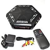 (US) iKKEGOL 5 Ways 4 Port IN 1 Out Video Audio S-Video Game AV Switch Box Selector with Remote Control Av-666d Black