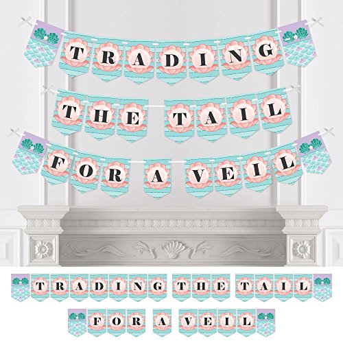 Trading The Tail For A Veil - Mermaid Bachelorette Party or Bridal Shower Bunting Banner - Bachelorette Party Decorations