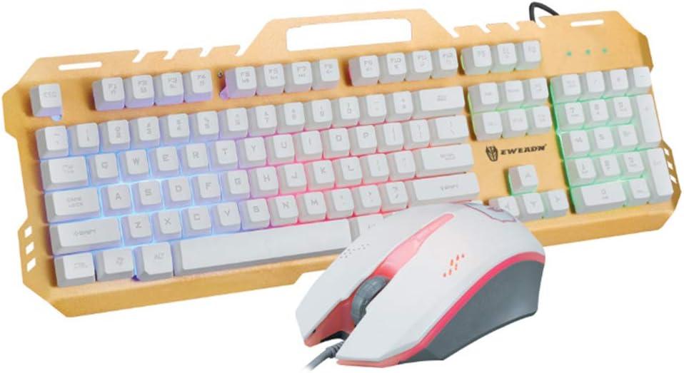 USB GT5 retroiluminado teclado iluminado metal juego y ratón ...