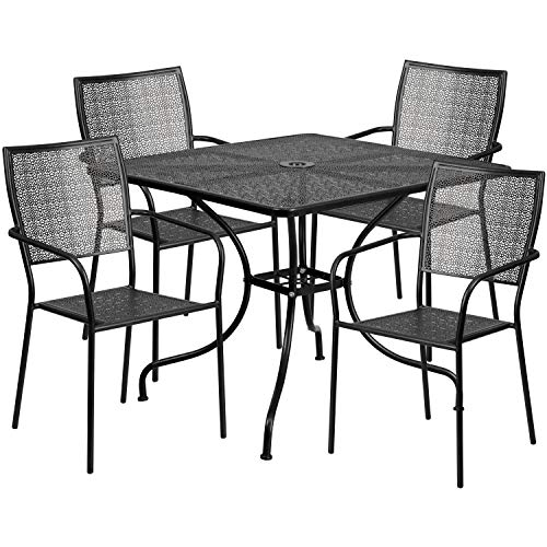 Flash Furniture 35.5'' Square Black Indoor-Outdoor Steel Patio Table Set with 4 Square Back Chairs (For Dining Sale Metal Chairs)