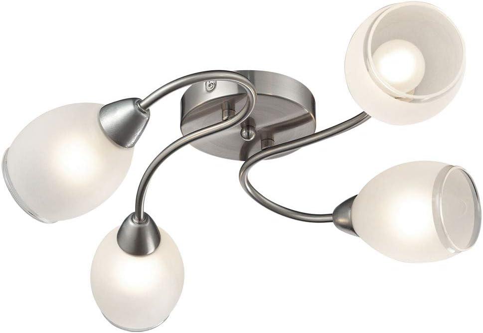 Luxus LED Decken Lampe Schlaf Gäste Zimmer Glas Kristall Chrom Flur Leuchte