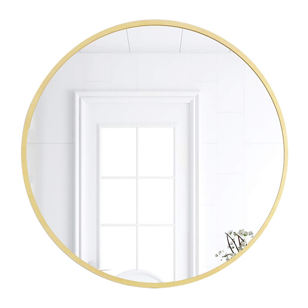 50cm(19.7Inch) Round Bathroom Wall Mirror Wood Frame Vanity Makeup Decorative Shaving Large Dressing Hallway Bedroom Modern Living Room Shaving (27.5 inch)